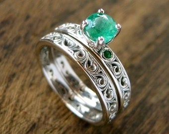 Round Emerald Engagement Ring & Matching Wedding Band in Palladium with Fine Scroll Pattern Size 7