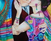 Fine Art Mexican Print  Frida Kahlo Art Frida Kahlo Dress from Original Oil Painting Their Kiss  by k Madison Moore