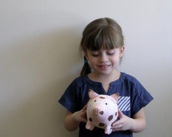 Baby pig -  tie dyed pink and white, brown painted spots, cotton fabric little stuffed toy pig - gifts under 25