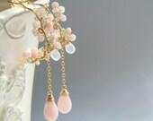 Sakura Chandelier Earrings, Cherry Blossom Jewelry, Bridal Wedding Earrings, Pink Opal, Yukojewelry