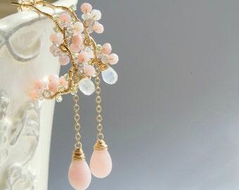 Pink Opal Chandelier Earrings, Sakra Jewelry, Wedding Earrings, Cherry Blossoms Earrings