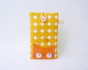 Cute iPhone 5 Case Orange Cat Mobile Case Cell Phone Case Fabric Phone Case - Curious Cat