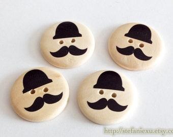 4PCS Wooden Buttons - British Style Black Gentleman Mustache Button (4PCS, D=3CM)