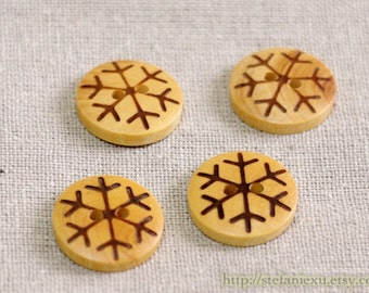 4PCS Japanese Wooden Buttons - Retro Vintage Look Lovely Winter Snowflakes (4PCS, D=1.8cm)