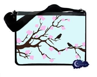 Cherry Blossom Tree and Love Birds Messenger & Laptop Bag