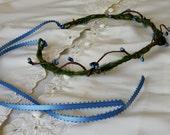 Rustic blue vine headdress berry hair wreath moss green celtic flower crown bridal flower girl halo music Festival twine wedding accessories