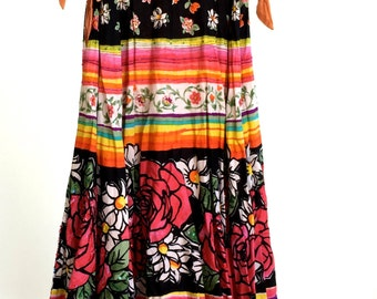 Rainbow Gypsy Skirt Vintage Colorful Sequins and Floral Floor Length Prarie Skirt