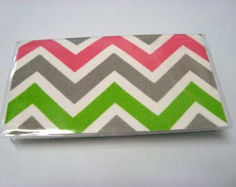 Stylish Checkbook Cover / Holder -Chartreuse Candy Pink Chevron Zig Zag