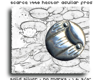 Button ~ Large Early 20th C. Hard-to-find Sterling Aguilar Frog ~ Very Modern Style Design