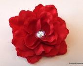 Beautiful Red Rose Hair Flower with Jewel Center - Flower Girl - Bridal - Wedding - Prom hair piece - Crimson rose