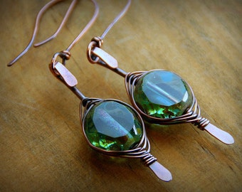 Tide Pools - Sea Foam Green Czech Glass Beads Wrapped in Copper - Earrings