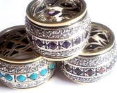 Spinner Ring for woman / Spinning ring silver gold  / amethysts / garnets / cz zircons / turquoise / other & cz stones
