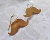 Whimsical Brass Mustache And Nubrass Dangle Earrings