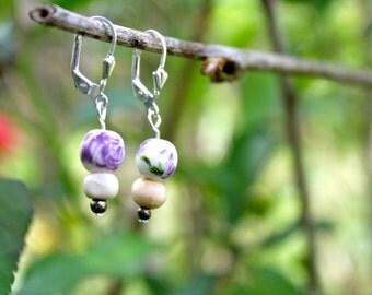 Dainty Purple Flower Earrings