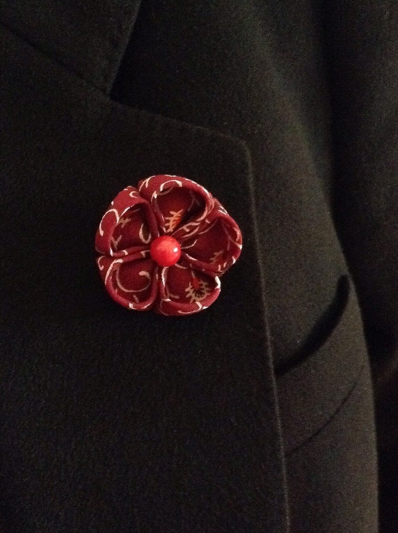 Lapel Flower Pin: Maroon Marsala Silk Kanzashi Includes US Shipping