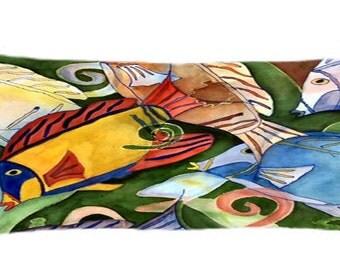 Tropical fish school coastal beach house body pillow case from my art