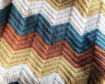 crochet knit BOLD chevron zig zag ripple baby toddler blanket afghan wrap adult lap wheelchair stripes VANNA WHITE yarn dark multi handmade