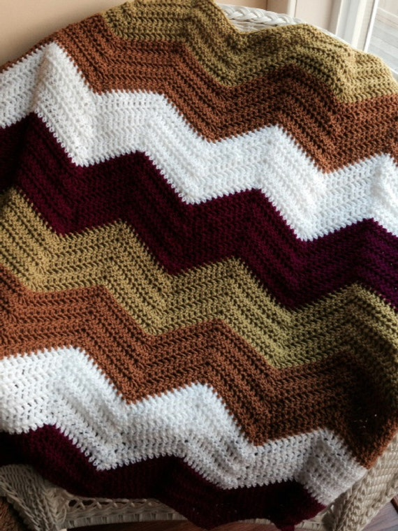 crochet knit BOLD chevron zig zag ripple baby toddler blanket