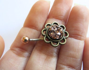 Belly Button Ring Bronze Rose Gold Druzy Belly Ring Stone Rock Flower Rose Daisy Navel Ring Piercing Stud Glitter Bar Barbell