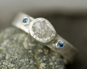 Rough Diamond Ring in Hammered Sterling Silver with Sapphires- Custom Made Band