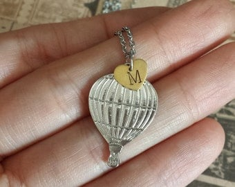 Hot Air Balloon with Initial. Gift for graduation, daughter, best friend, girlfriend, traveler.