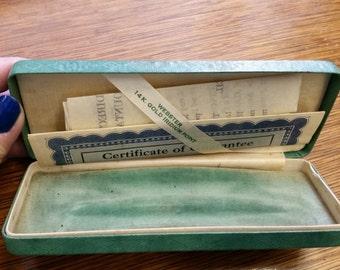 Vintage Green Velvet Lined Webster Pen Presentation Case With Original Paperwork from Rustysecrets