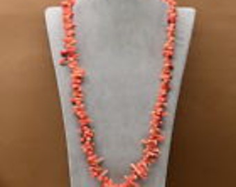 Natural Pink Sea Coral Gemstone Necklace - 32""