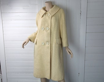 60s Swing Coat In Butter Ivory- 50s / 60s Wool Coat- 1950s / 1960s Pin Up- Large-Off White / Pale Yellow