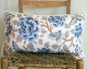 Indigo Blue Chinoiserie Floral with Moths Accent Pillow Cover