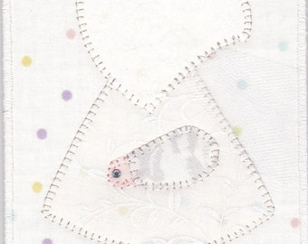 June Bride Sue, A Sunbonnet Sue Quilted Fabric Postcard