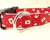 Valentine Dog Collar, Love Letters, 1 inch wide, adjustable, quick release, metal buckle, chain, martingale, hybrid, nylon