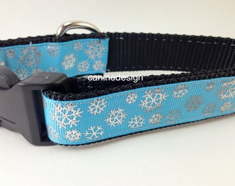 Christmas Dog Collar, Blue Silver Snowflake,1 inch wide, adjustable, quick release, metal buckle, chain, martingale, hybrid, nylon