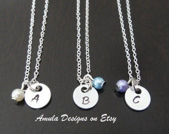 Personalized Handstamped Initial Letter Bridesmaid Gift Birthstone Pearl Necklace