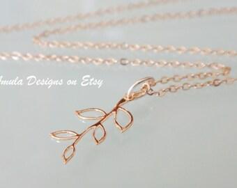 Rose Gold Leaf Branch Necklace