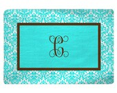 Personalized  Aqua Damask and Aqua Center Plush Fuzzy Area Rug with Chocolate Accent -  Size 48x30, 60x48, 96x44, 96x60 and 48x48