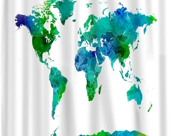 Custom Shower Curtains -Watercolor World Map Blue and Green  on White or Cream/Natural background - Standard or Extra Long