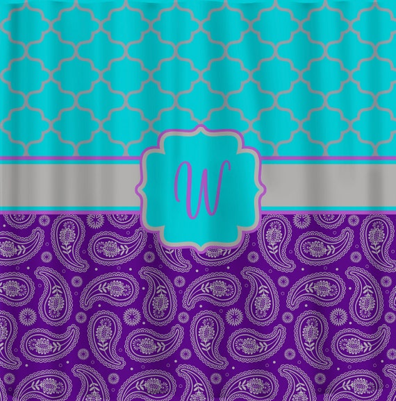 Items Similar To Personalized CUSTOM Quatrefoil And Paisley Shower Curtain