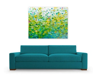 Green and White Abstract Painting Modern Home Decor Digital Download Reproduction DIY Print Wall Art, Bubbling Spring by Jessica Torrant