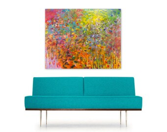 Digital Print, Radiance Abstract Painting Reproduction, Instant Download, colorful rainbow red orange yellow turquoise, Modern Home Decor