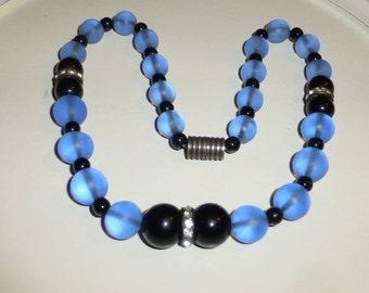 Vintage Art Deco Blue & Black Glass Bead Necklace Vintage glass necklace