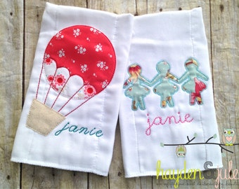 Monogrammed Shabby Chic Burp Cloths - Personalized, Set of 2
