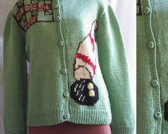 Vintage Hand Knitted Women's Bowling Sweater