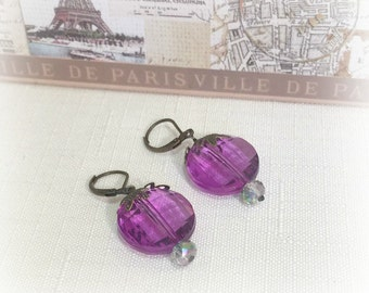 Earrings, Purple, Neo Victorian, Art Deco, Brass Earwires, Vintage Inspired, Feminine Chic, Hand Made in the USA, Pretty and Elegant Gift