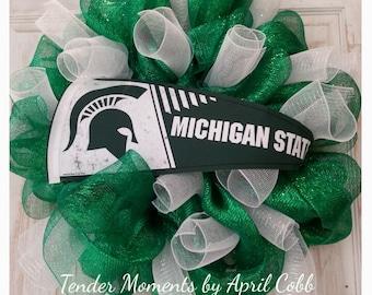 Michigan State Wreath, MSU Wreath, Spartans Wreath, Michigan State Mesh Wreath, College Wreath, Sports Wreath