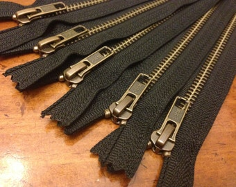 Antique brass 14 inch zippers, FIVE pcs, YKK metal zippers on black tape, YKK color 580, boot style pull