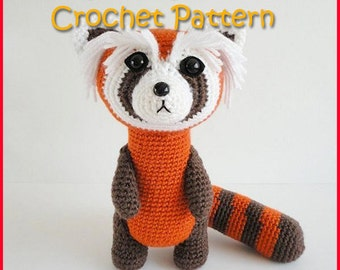 red panda crochet pattern, amigurumi red panda pattern, amigurumi croche pattern, stuffed plush ferret tutorial, instant download