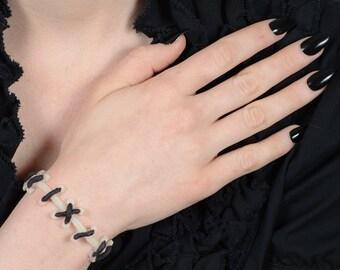 Frankenstein Zombie Bracelet- Glow in Dark   with black stitch bracelets- 2pc set
