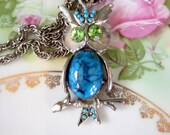 Vintage 1970s Owl Pendant Faux turquoise Jelly Belly green Rhinestone eyes