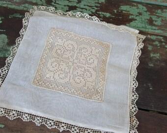 ANTIQUE Victorian Wedding Sachet Handkerchief Vanity bag Filet Crochet Organza