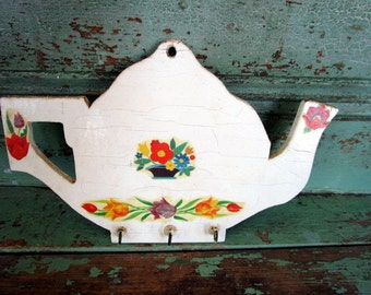 Vintage Shabby Wood Kitchen Wall Hook Teapot Old floral decals